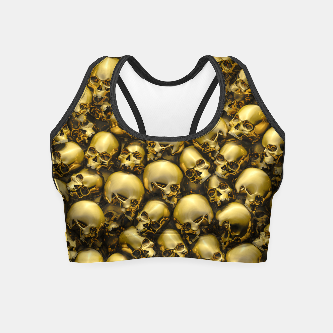 Image of Totally Gothic Abstract Skulls Horror Pattern Gold Crop Top - Live Heroes