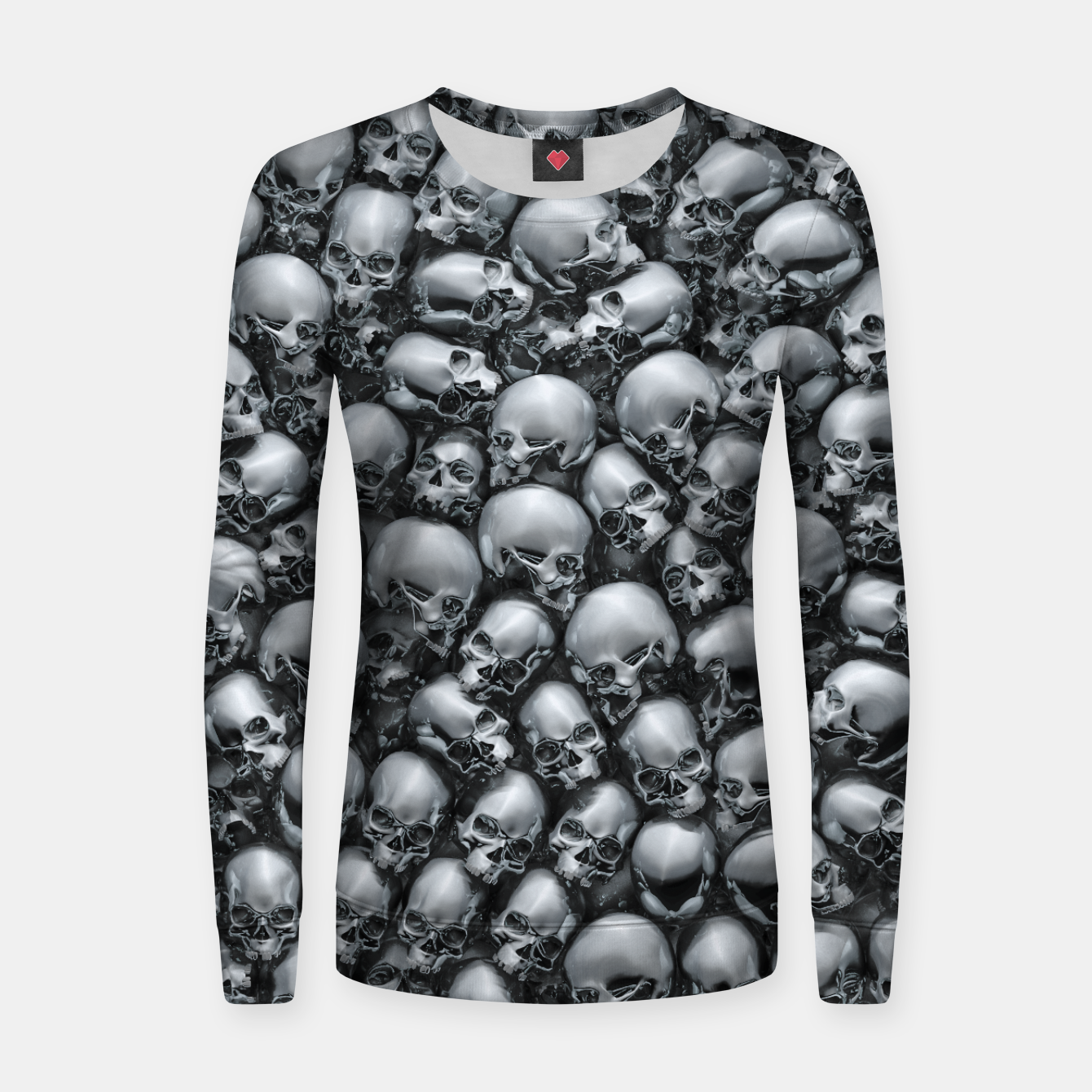 Image of Totally Gothic Abstract Skulls Horror Pattern Chrome Women sweater - Live Heroes