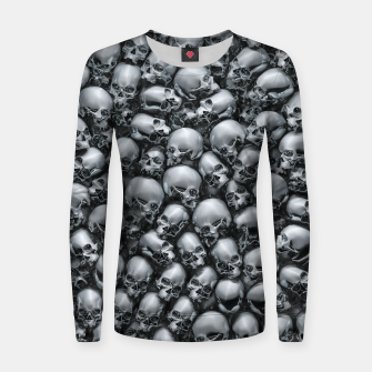 Thumbnail image of Totally Gothic Abstract Skulls Horror Pattern Chrome Women sweater, Live Heroes