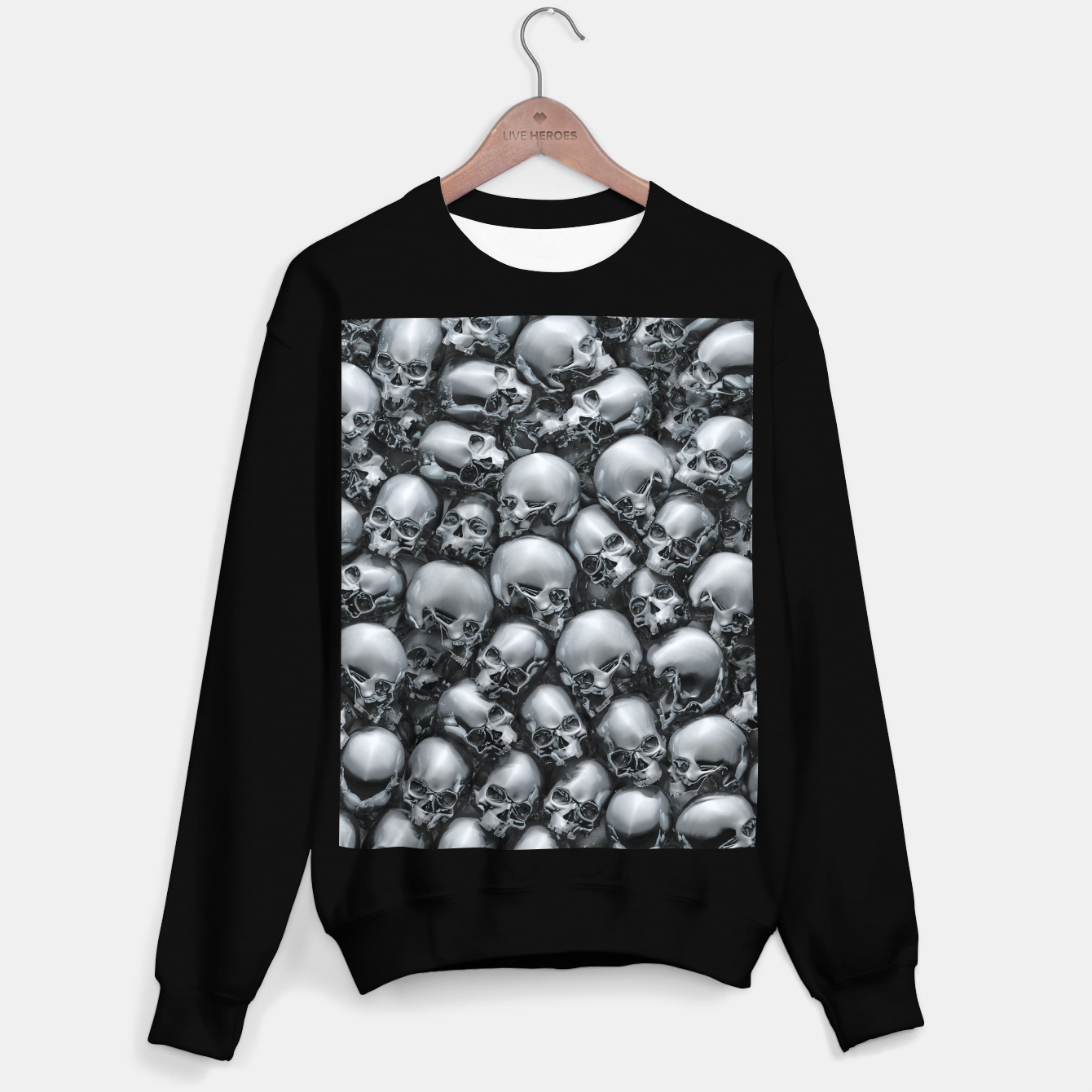 Image of Totally Gothic Abstract Skulls Horror Pattern Chrome Sweater regular - Live Heroes