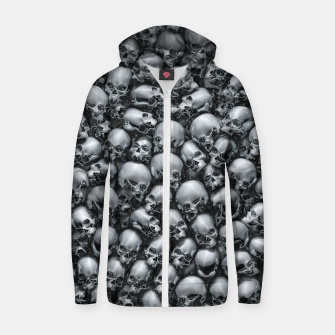 Thumbnail image of Totally Gothic Abstract Skulls Horror Pattern Chrome Zip up hoodie, Live Heroes
