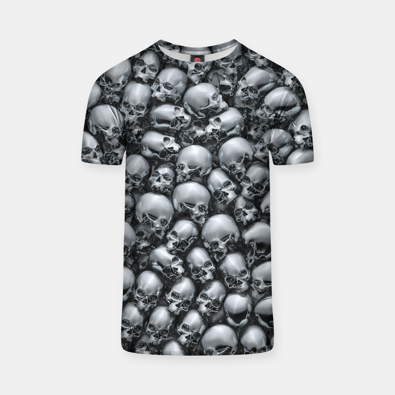Image of Totally Gothic Abstract Skulls Horror Pattern Chrome T-shirt - Live Heroes