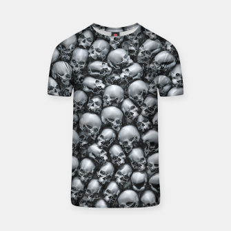 Thumbnail image of Totally Gothic Abstract Skulls Horror Pattern Chrome T-shirt, Live Heroes
