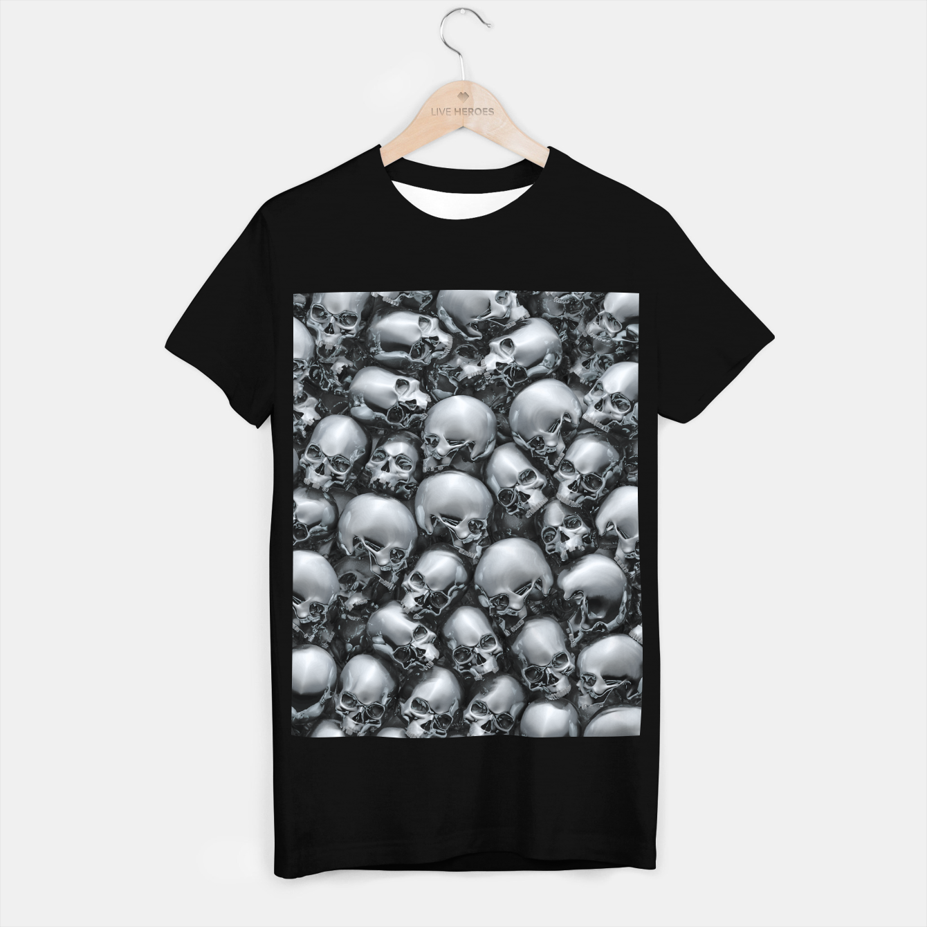 Image of Totally Gothic Abstract Skulls Horror Pattern Chrome T-shirt regular - Live Heroes
