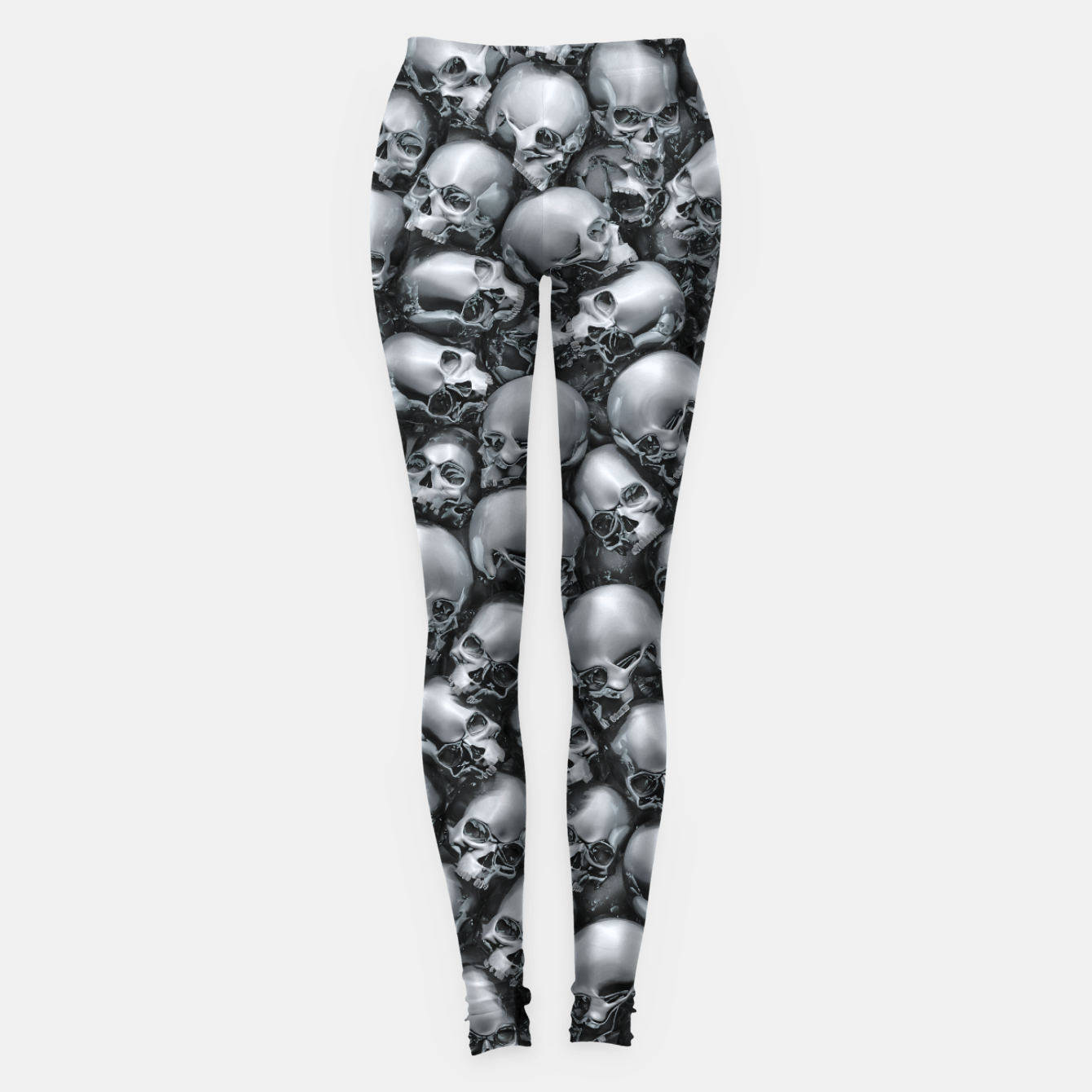 Image of Totally Gothic Abstract Skulls Horror Pattern Chrome Leggings - Live Heroes
