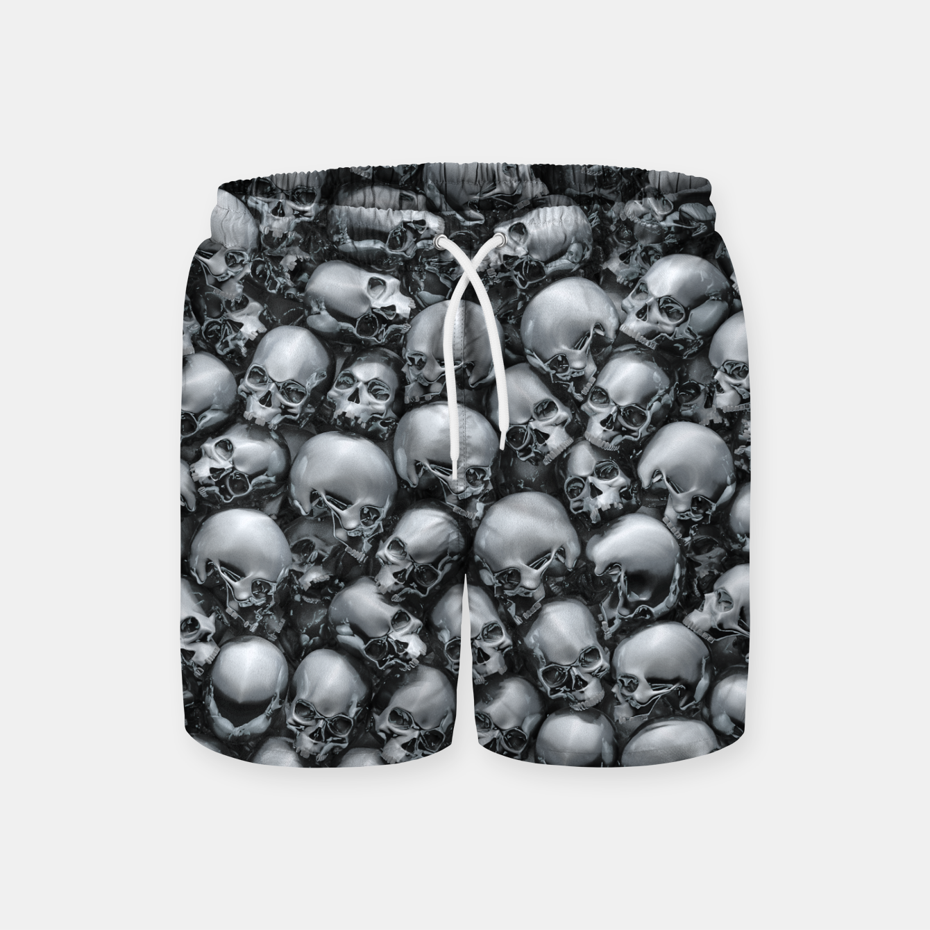 Image of Totally Gothic Abstract Skulls Horror Pattern Chrome Swim Shorts - Live Heroes