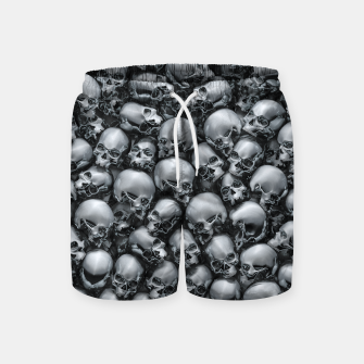 Thumbnail image of Totally Gothic Abstract Skulls Horror Pattern Chrome Swim Shorts, Live Heroes