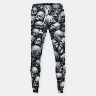 Thumbnail image of Totally Gothic Abstract Skulls Horror Pattern Chrome Sweatpants, Live Heroes