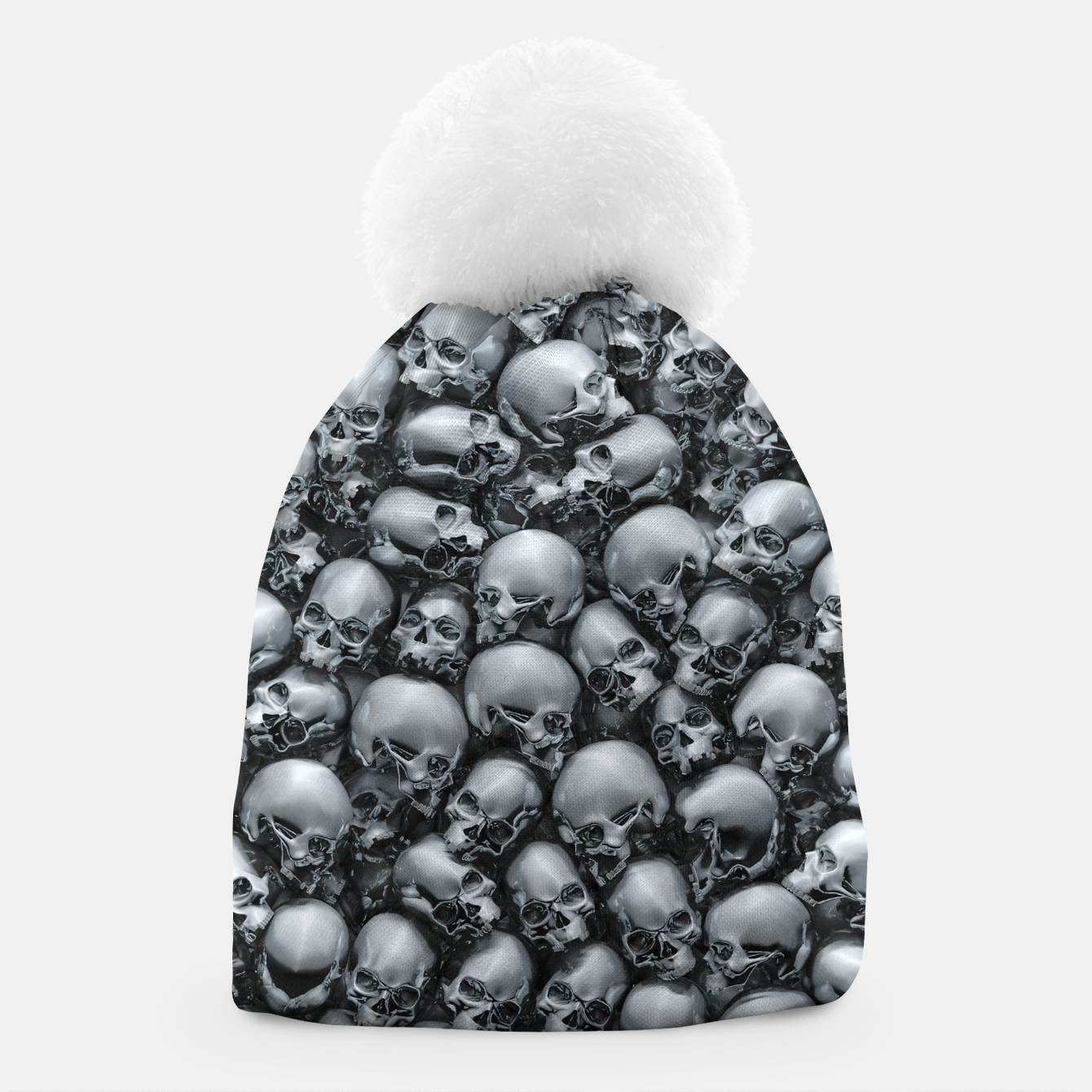 Image of Totally Gothic Abstract Skulls Horror Pattern Chrome Beanie - Live Heroes