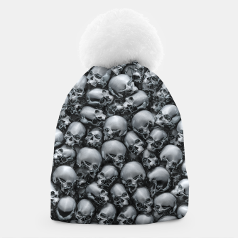 Thumbnail image of Totally Gothic Abstract Skulls Horror Pattern Chrome Beanie, Live Heroes