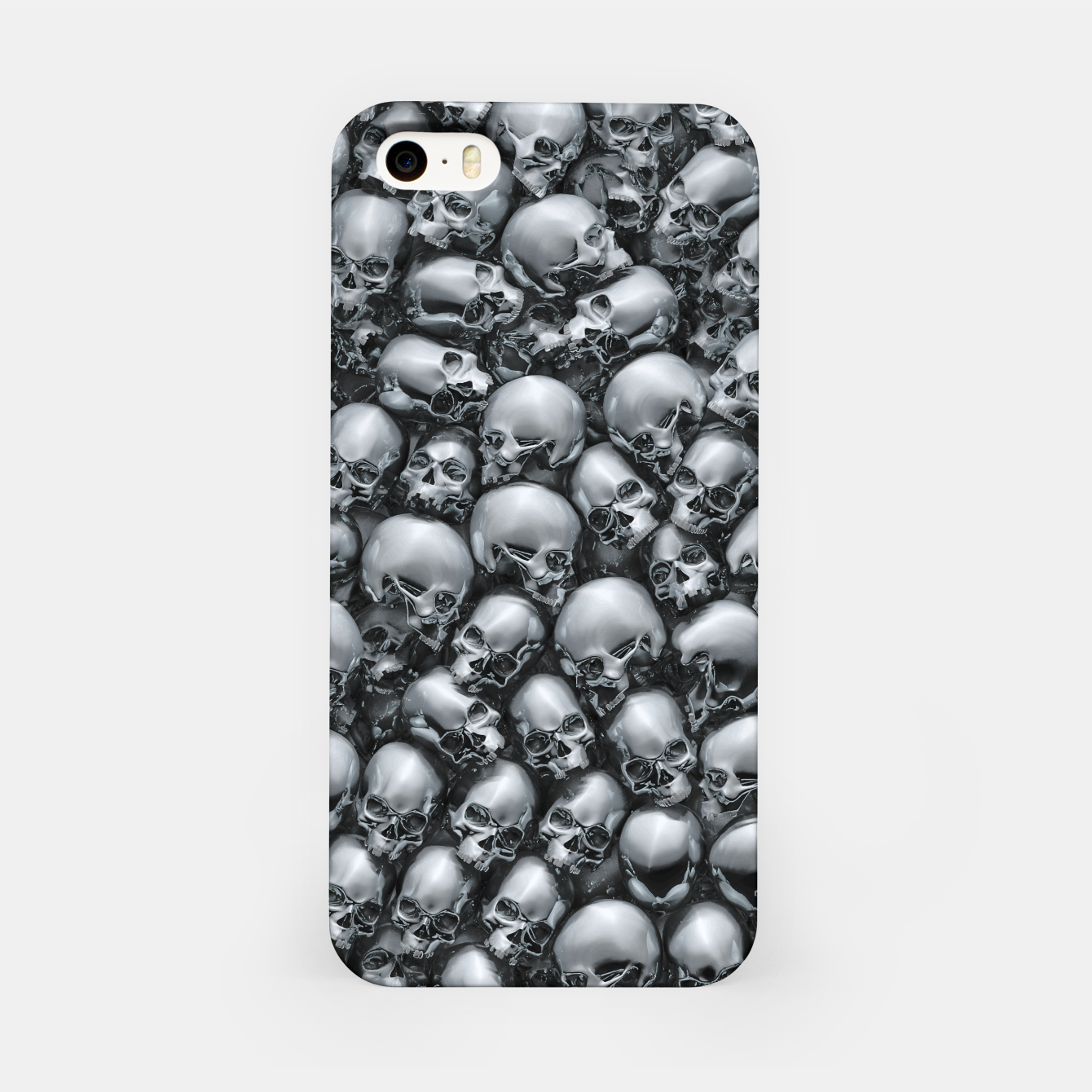 Image of Totally Gothic Abstract Skulls Horror Pattern Chrome iPhone Case - Live Heroes