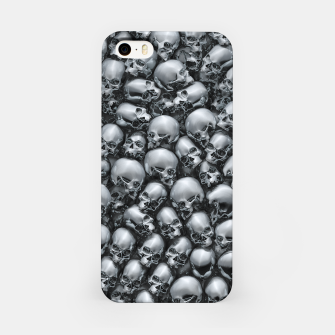 Thumbnail image of Totally Gothic Abstract Skulls Horror Pattern Chrome iPhone Case, Live Heroes