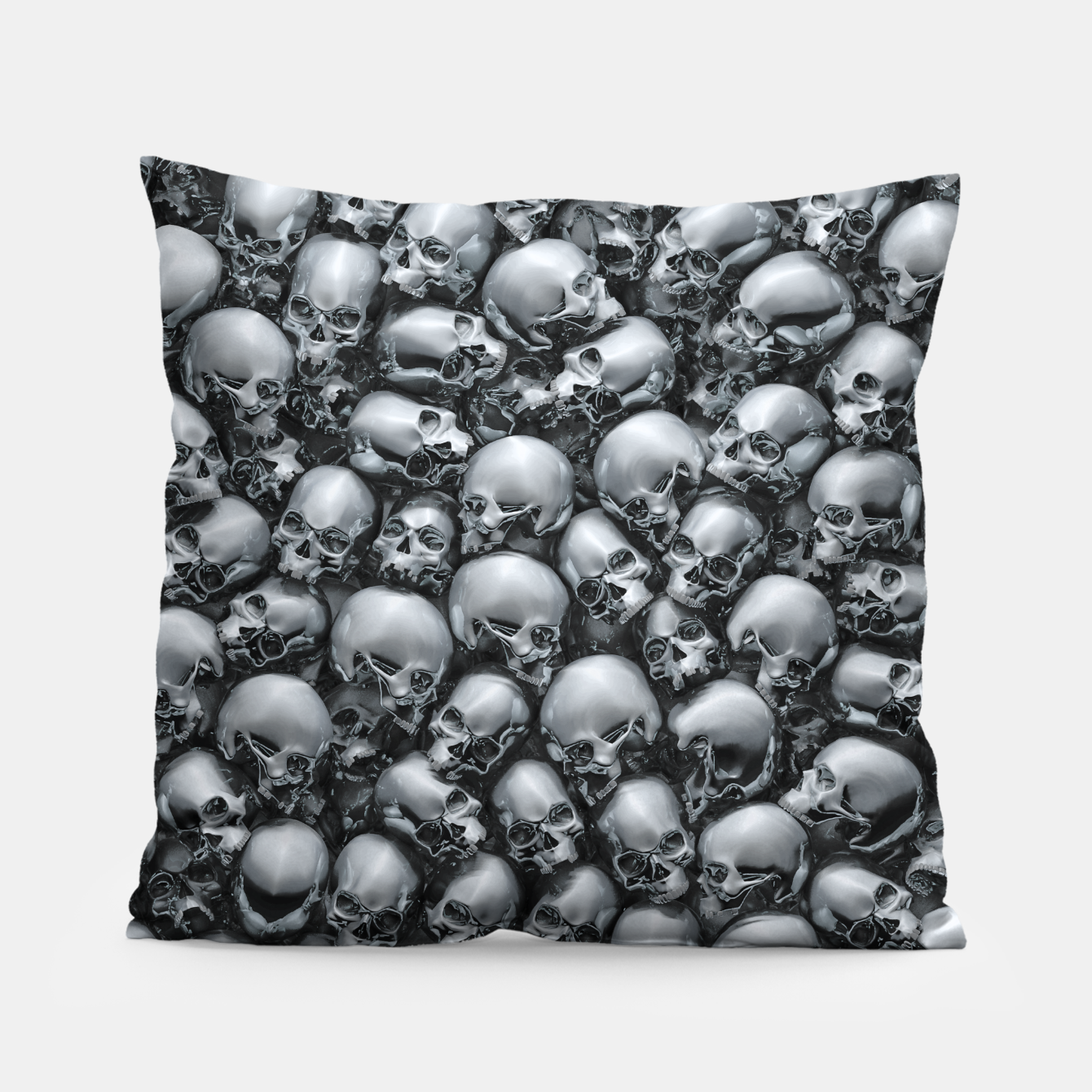 Image of Totally Gothic Abstract Skulls Horror Pattern Chrome Pillow - Live Heroes