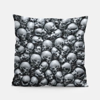 Thumbnail image of Totally Gothic Abstract Skulls Horror Pattern Chrome Pillow, Live Heroes