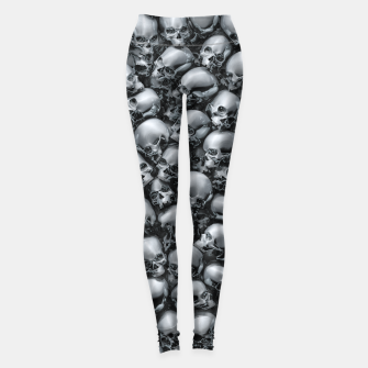 Thumbnail image of Totally Gothic Abstract Skulls Horror Pattern Chrome Leggings, Live Heroes