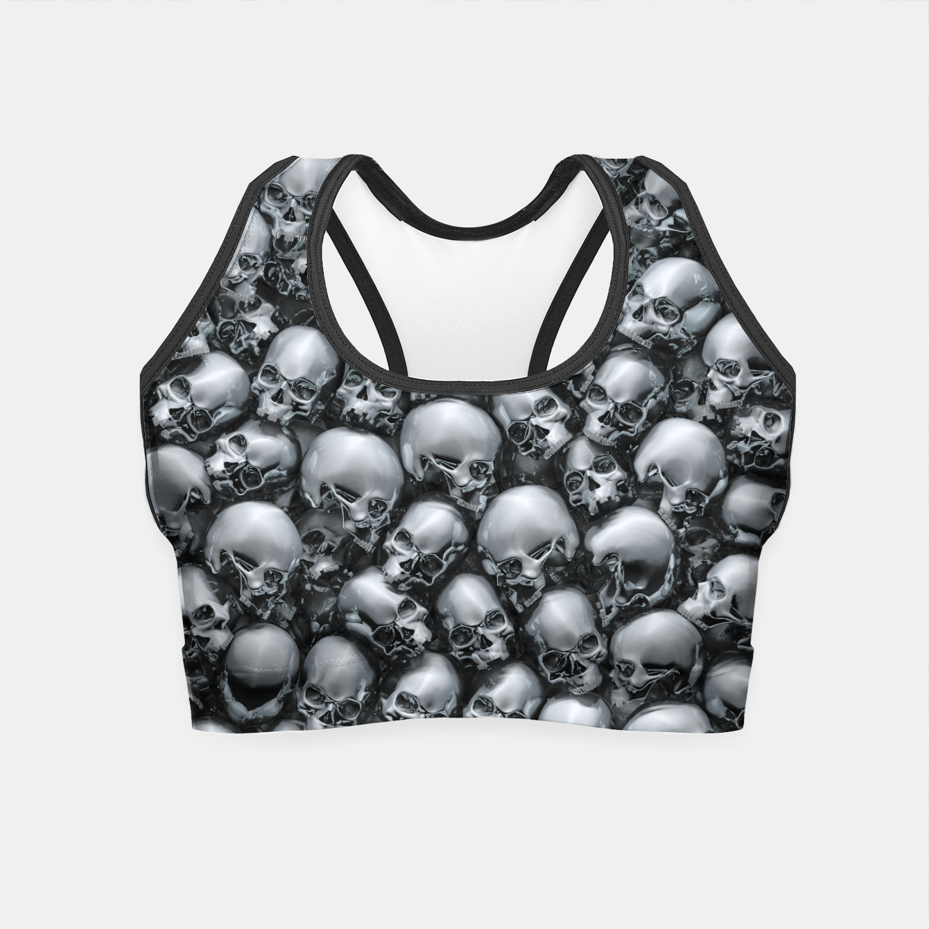 Image of Totally Gothic Abstract Skulls Horror Pattern Chrome Crop Top - Live Heroes
