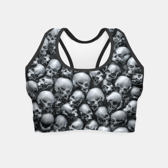Thumbnail image of Totally Gothic Abstract Skulls Horror Pattern Chrome Crop Top, Live Heroes