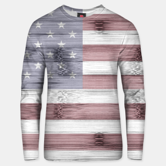 Thumbnail image of Rustic Red White Blue Wood USA flag Unisex sweater, Live Heroes