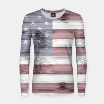 Thumbnail image of Rustic Red White Blue Wood USA flag Women sweater, Live Heroes