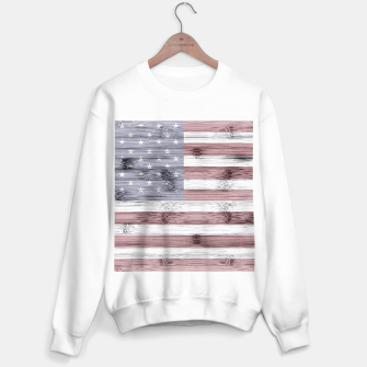 Thumbnail image of Rustic Red White Blue Wood USA flag Sweater regular, Live Heroes