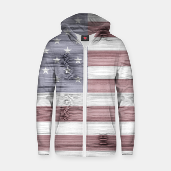 Thumbnail image of Rustic Red White Blue Wood USA flag Zip up hoodie, Live Heroes