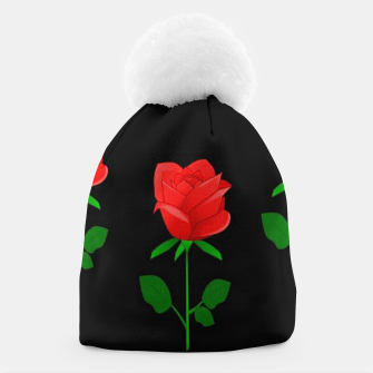 Thumbnail image of Red roses on black Beanie, Live Heroes