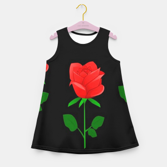 Thumbnail image of Red roses on black Girl's summer dress, Live Heroes