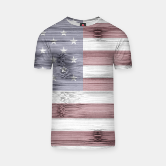 Thumbnail image of Rustic Red White Blue Wood USA flag T-shirt, Live Heroes