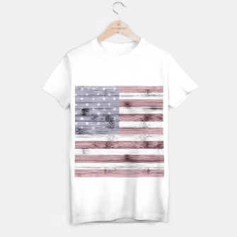 Thumbnail image of Rustic Red White Blue Wood USA flag T-shirt regular, Live Heroes