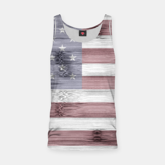 Thumbnail image of Rustic Red White Blue Wood USA flag Tank Top, Live Heroes