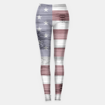 Thumbnail image of Rustic Red White Blue Wood USA flag Leggings, Live Heroes