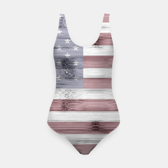 Thumbnail image of Rustic Red White Blue Wood USA flag Swimsuit, Live Heroes