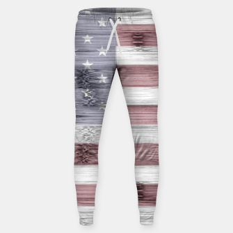 Thumbnail image of Rustic Red White Blue Wood USA flag Sweatpants, Live Heroes