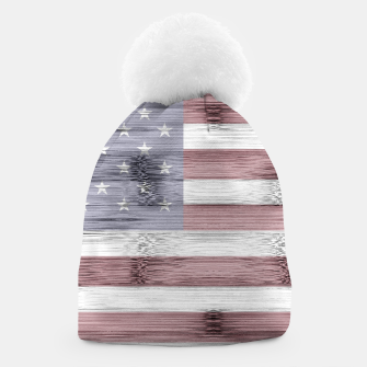 Thumbnail image of Rustic Red White Blue Wood USA flag Beanie, Live Heroes
