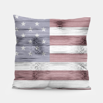 Thumbnail image of Rustic Red White Blue Wood USA flag Pillow, Live Heroes