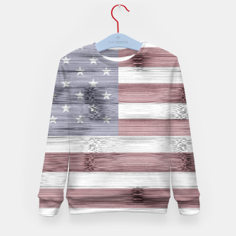 Thumbnail image of Rustic Red White Blue Wood USA flag Kid's sweater, Live Heroes
