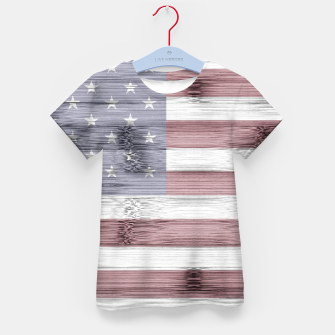 Thumbnail image of Rustic Red White Blue Wood USA flag Kid's t-shirt, Live Heroes