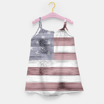 Thumbnail image of Rustic Red White Blue Wood USA flag Girl's dress, Live Heroes