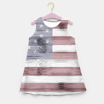 Thumbnail image of Rustic Red White Blue Wood USA flag Girl's summer dress, Live Heroes