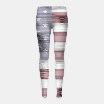Thumbnail image of Rustic Red White Blue Wood USA flag Girl's leggings, Live Heroes