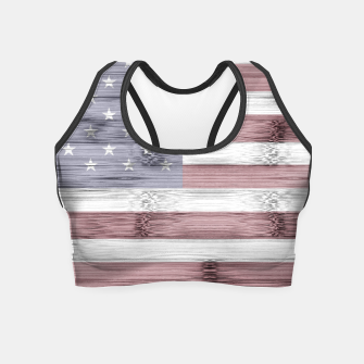 Thumbnail image of Rustic Red White Blue Wood USA flag Crop Top, Live Heroes