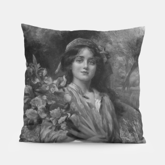 Thumbnail image of Iris by Norman Prescott-Davies In Grey Scale Pillow, Live Heroes