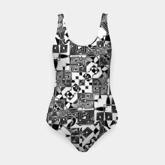 Thumbnail image of Black and White Geometric Print Swimsuit, Live Heroes