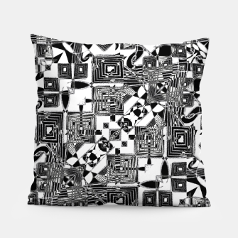 Thumbnail image of Black and White Geometric Print Pillow, Live Heroes