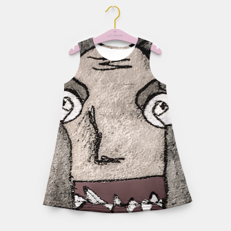 Thumbnail image of Sketchy Style Head Funny Creepy Drawing Girl's summer dress, Live Heroes