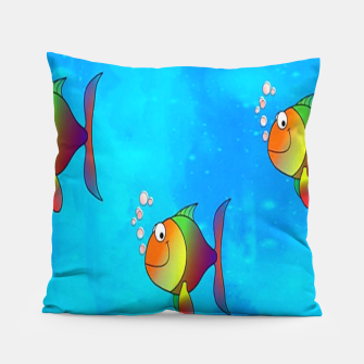 Thumbnail image of Cute colorful fishes on sea Pillow, Live Heroes