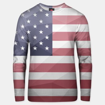 Thumbnail image of USA flag Red White Blue Geometric Mesh Pattern Unisex sweater, Live Heroes