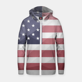 Thumbnail image of USA flag Red White Blue Geometric Mesh Pattern Zip up hoodie, Live Heroes
