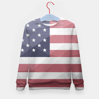 Thumbnail image of USA flag Red White Blue Geometric Mesh Pattern Kid's sweater, Live Heroes