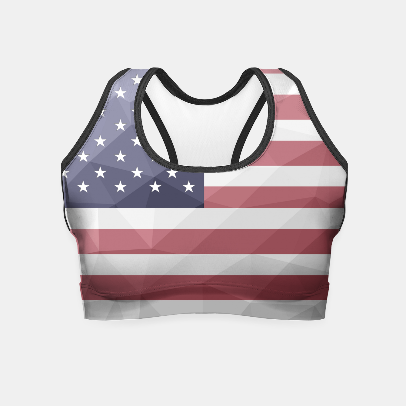 Image of USA flag Red White Blue Geometric Mesh Pattern Crop Top - Live Heroes